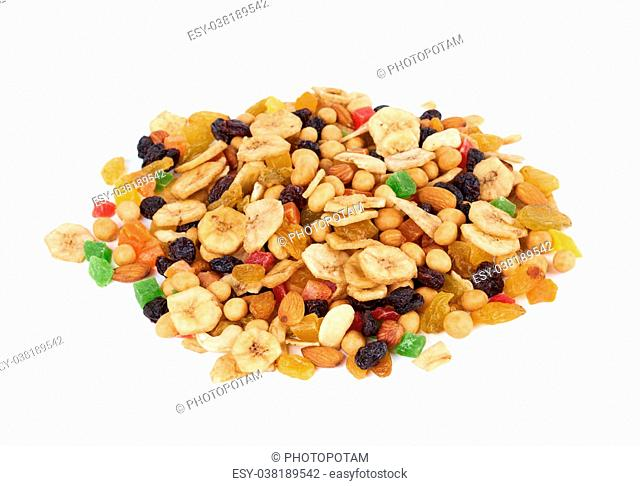 Mixed heap of dried fruits and nuts isolated on white