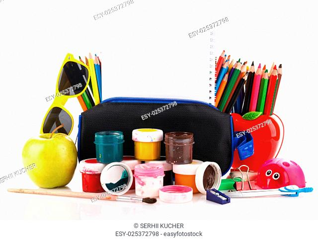 school supplies for art with a place for text