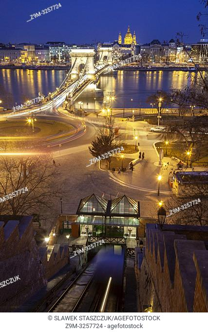 Evening in Budapest, Hungary. Chain Bridge and St Stephen Cathedral in the distance