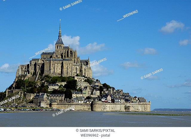 Mont Saint-Michel, a fortified medieval monastery on an island in Normandy, France