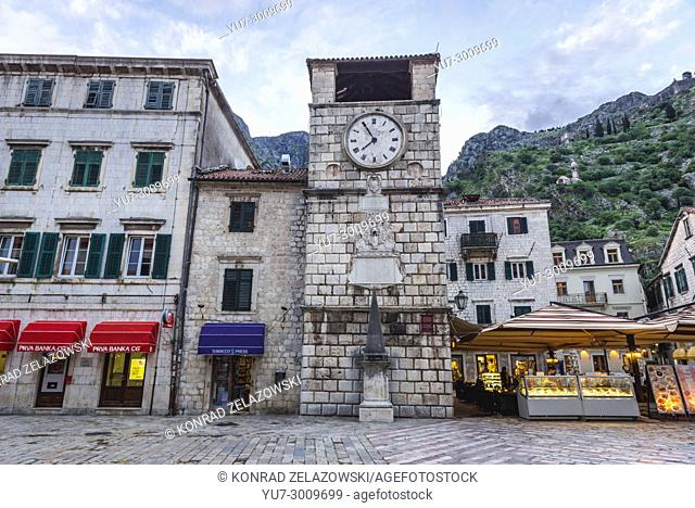 Clock Tower dates from 1602 on the Square of Arms of Old Town in Kotor coastal city, located in Bay of Kotor of Adriatic Sea, Montenegro
