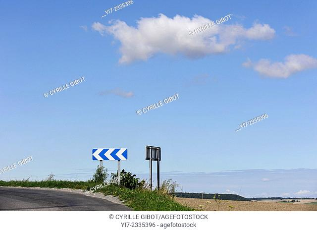 Left only turn sign on rural road, Indre et Loire, France