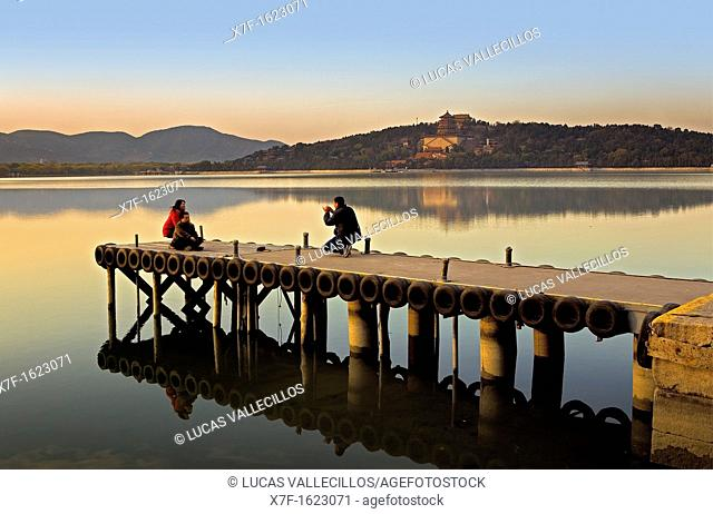 Tourists in Summer Palace, in lake Kunming,Beijing, China