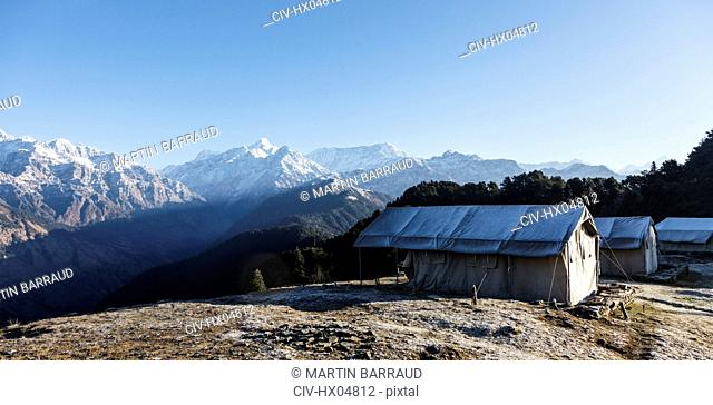 Yurts with scenic mountain view, Jaikuni, Indian Himalayan Foothills