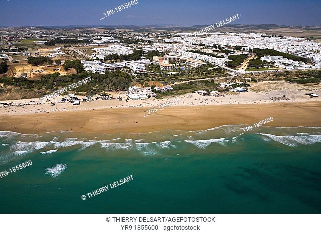 Conil de la Fontera and beach  Cádiz area Spain  Aerial view