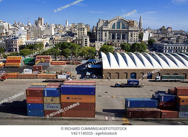 Container Port & Montevideo skyline, Uruguay, South America