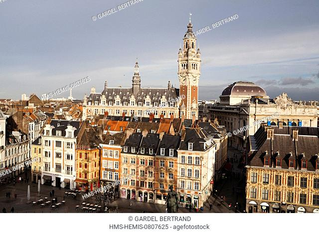 France, Nord, Lille, Place du General de Gaulle (General De Gaulle square) or Grand Place with the belfry and Chamber of Commerce (aerial view)