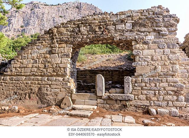 Roman thermal bath complex at Ancient Greek City in Priene,Soke,Aydin,Turkey
