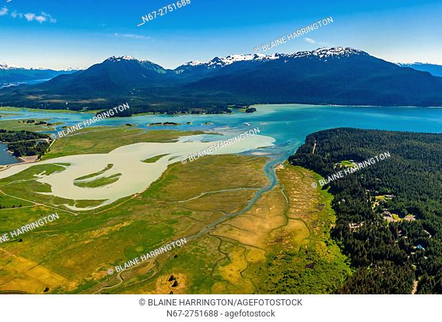 Aerial Bay, Auke Bay, Juneau, Alaska USA