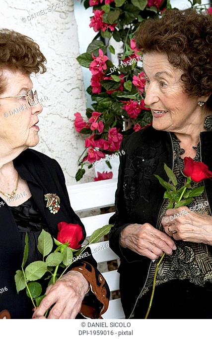 Two Women Talking And Holding Single Red Roses; Edmonton, Alberta, Canada