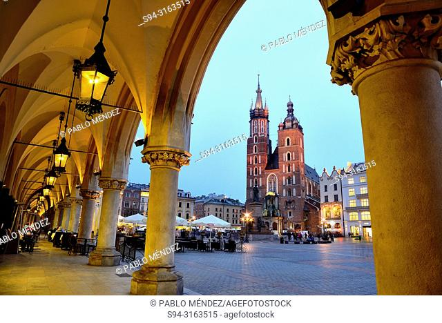 Market square or Rynek. Our Lady of Santa Maria, Krakow, Poland
