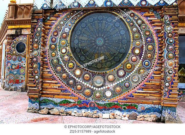 beautiful mosaic mandalas on the walls of the main building at wat Prathat, Pha Sorn Kaew, in Khao Kor, Phetchabun, Thailand