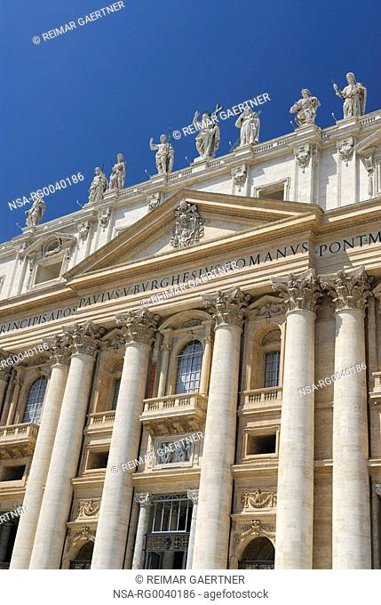 Vertical detail of entrance Facade of St Peters Basilica in Rome