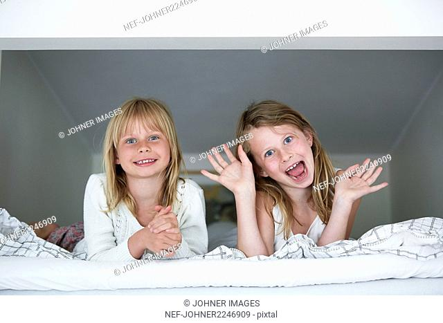 Girls making funny faces