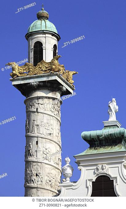 Austria, Vienna, St Charles Church, Karlskirche, tower, detail,