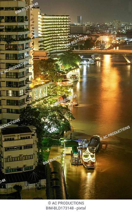 High angle view of Bangkok waterfront, Bangkok, Thailand