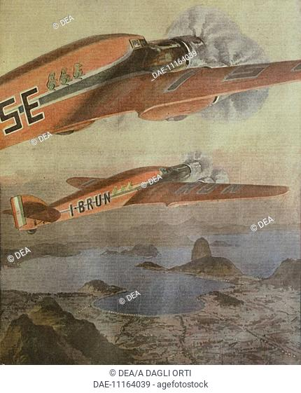 Attilio Biseo and Bruno Mussolini's Italy-Brazil transatlantic flight. Illustrator Achille Beltrame (1871-1945), from La Domenica del Corriere