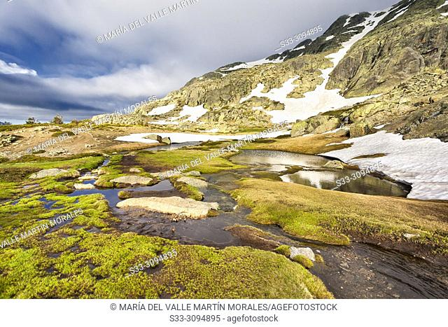 Spring and thaw at National Park of Penialara Lagoons. Sierra de Guadarrama. Madrid. Spain