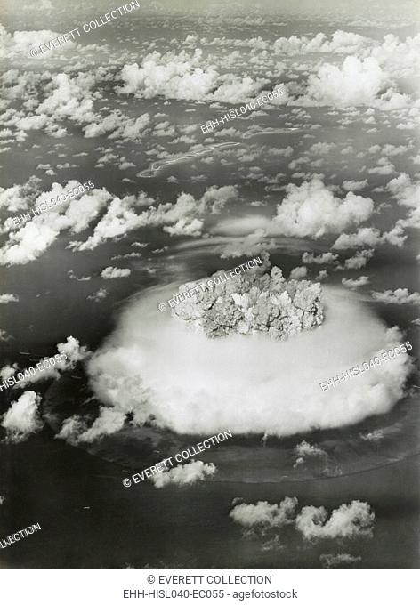 The BAKER test of Operation Crossroads, July 25, 1946. BAKER was exploded underwater, creating an underwater pressure of 1000 pounds per square inch