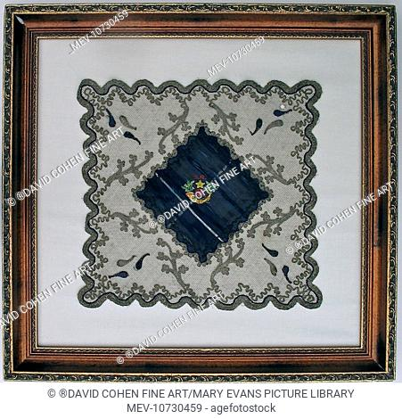 A very fine lace square with a centrepiece of the Tartan and Regimental Badge of the Cameronian Scottish Rifles. This belonged to the family of Private 40520...
