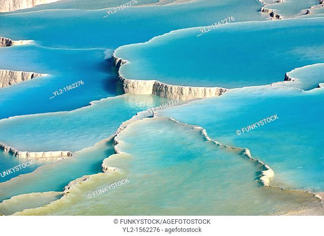 Photo & pictures of Pamukkale Travetine Terrace, Turkey  Photography of the white Calcium carbonate rock formations  Buy as stock photos or as photo art prints...