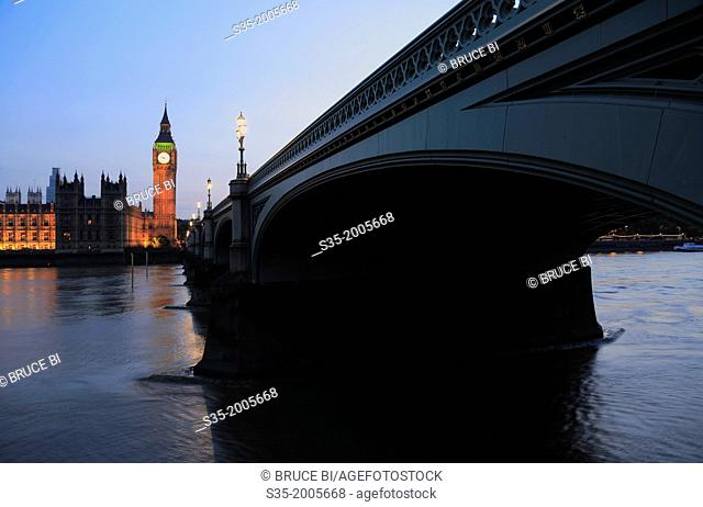 The twilight view of Westminster Bridge over River Thames with Big Ben and Westminster Palace in the background. London. England. United Kingdom