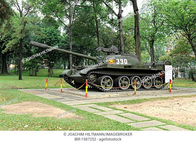 North Vietnamese tank on the grounds of the Reunification Palace, Reunion Hall, former seat of government, Ho Chi Minh City, Saigon, South Vietnam, Vietnam