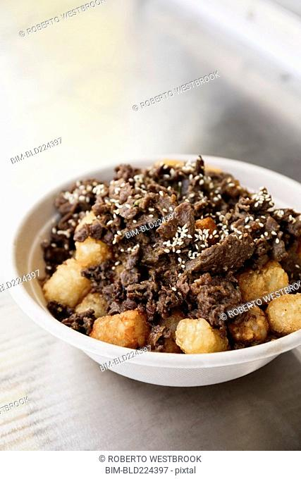 Bowl of steak and tater tots