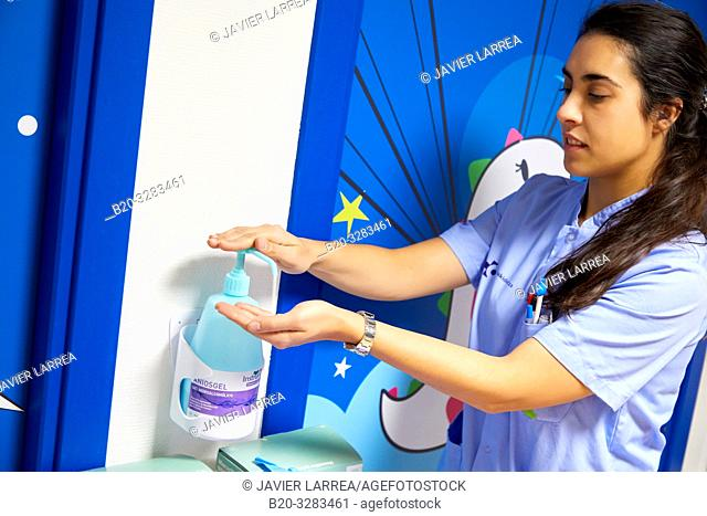 Nurse cleaning her hands, Plant for hospitalization of children, Pediatrics, Medical care, Hospital Donostia, San Sebastian, Gipuzkoa, Basque Country, Spain