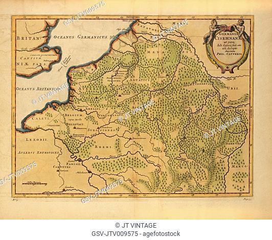 Germaniae Cisrhenanae ut Circa Julii Caesaris Suit Aetatem, Descriptio, Map of German Empire to West of the Rhine River, into Belgium and France