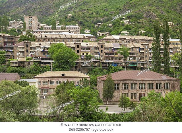 Armenia, Debed Canyon, Alaverdi, high angle view of town by the Debed River