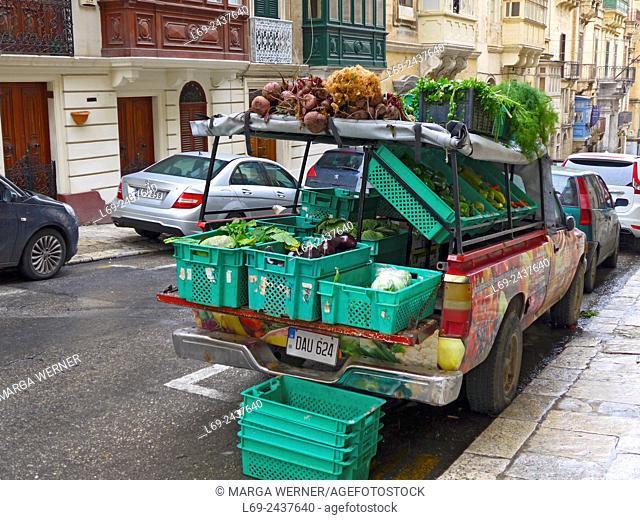 Island Malta, Mediterranean Sea, greengrocer car in the old town of Valetta