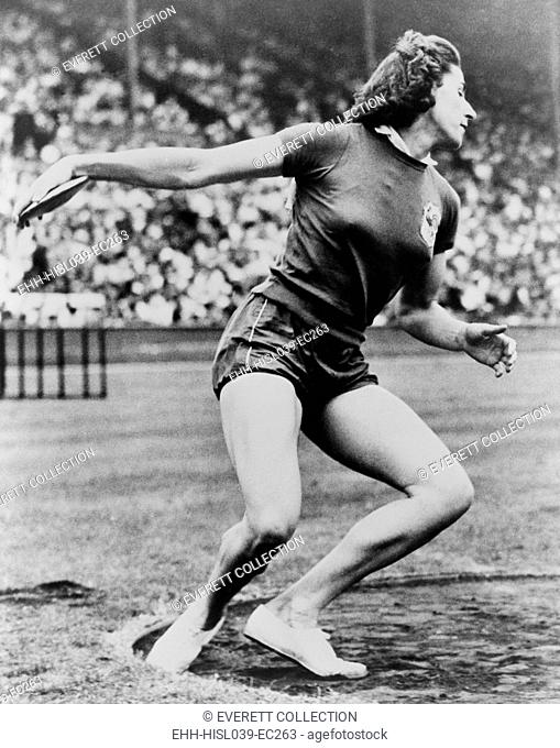 Micheline Ostermeyer, throwing the discus at the 1948 London Olympics. The French athlete won the gold medal only a few weeks after she made her first picked up...