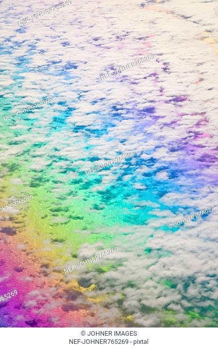 Air photograph with light and colour phenomenon