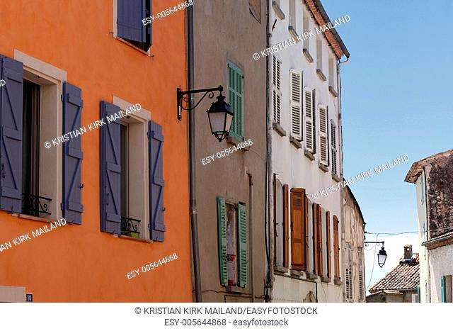 Colourful shutters in the street. Callas. Provence. France