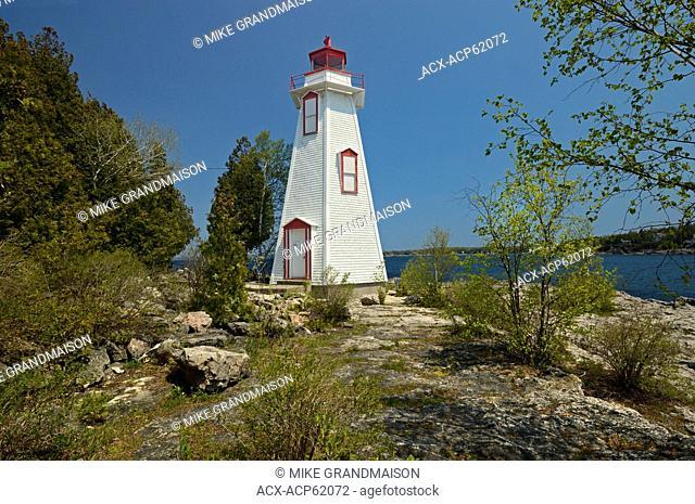 Big Tub Lighthouse in Lake Huron. Georgian Bay on Bruce Peninsula, Tobermory, Ontario, Canada