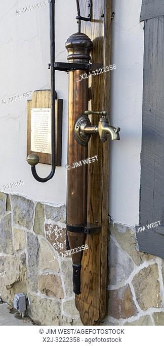 Marshall, Michigan - A beer pump from the old Eagle Brewery, on display outside Schuler's restaurant