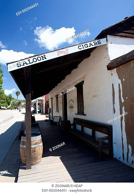Old Town San Diego showing old saloon with barrels