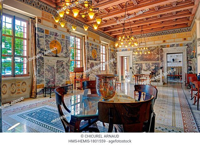 France, Alpes Maritimes, Beaulieu sur Mer, Villa Kerylos Greek Revival style in 1908 by architect Emmanuel Pontremoli