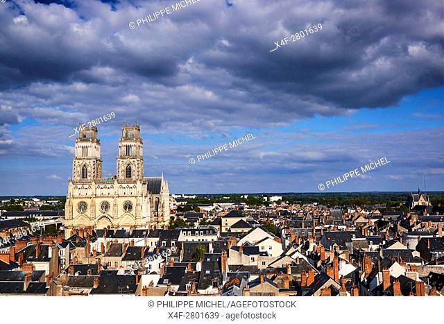 France, Loiret, Orleans, cityscape and Sainte-Croix cathedral
