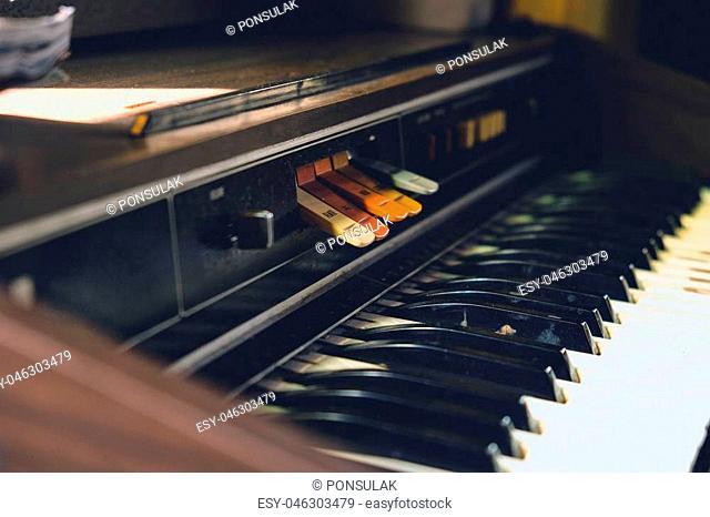 Antique reed organ close up