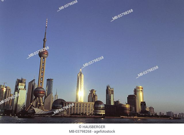 China, Shanghai, 'association', skyline, Oriental Pearl tower, Jin Mao Building,  Sunset  Asia, Eastern Asia, city, view at the city, trading center