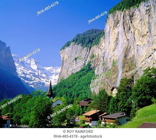 Lauterbrunnen and Staubbach Falls, Jungfrau region, Switzerland