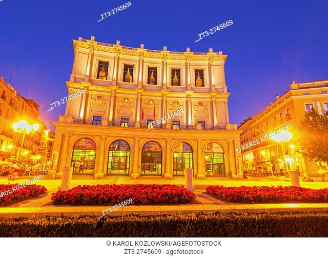 Spain, Madrid, Twilight view of the Teatro Real from the side of the Plaza de Oriente