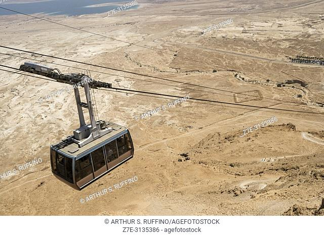 Masada cableway, Masada National Park, Judean Desert, UNESCO World Heritage Site, Israel, Middle East