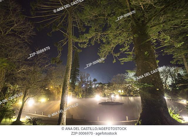 Hot spring pool in Terra Nostra park, Furnas, Sao Miguel island, Azores archipelago, Portugal