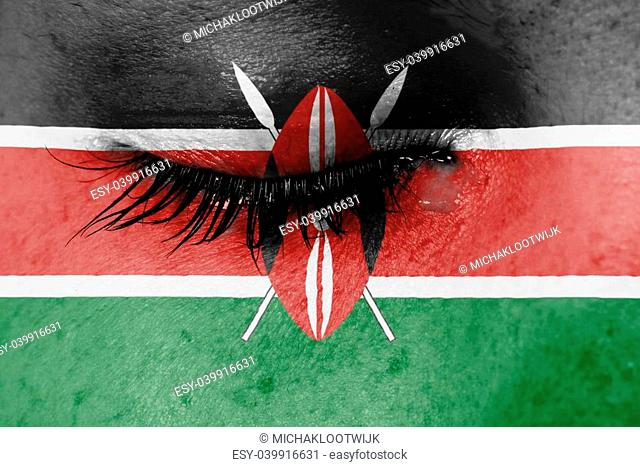 Crying woman, pain and grief concept, flag of Kenya