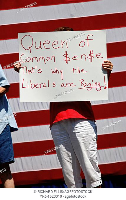 A supporter of Michelle Bachmann holds a sign during a campaign rally on August 18, 2011 in Columbia, South Carolina