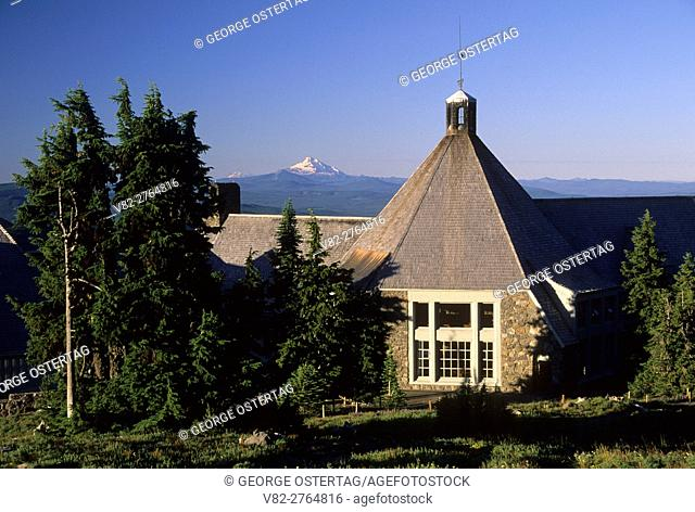 Timberline Lodge with Mt Jefferson, Mt Hood National Forest, Oregon