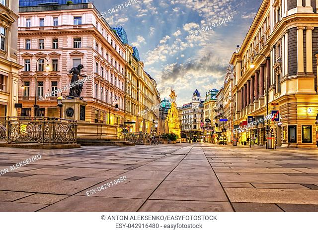 Graben, a famous Vienna street with the Plague Column and famous fountains